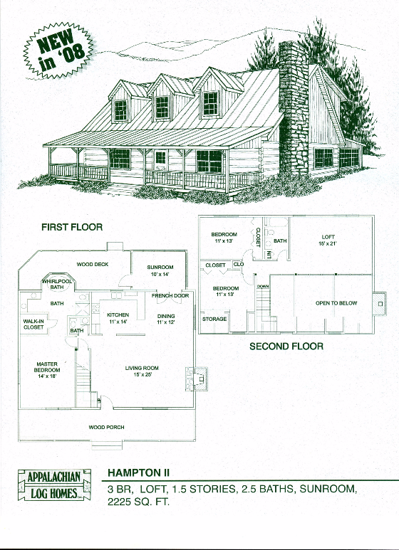 Hampton Ii 3 Bed 2 5 Bath 1 5 Stories 2725 Sq Ft Appalachian Log Timber Homes Hybrid Home Floo Log Home Floor Plans Timber House A Frame Cabin Plans