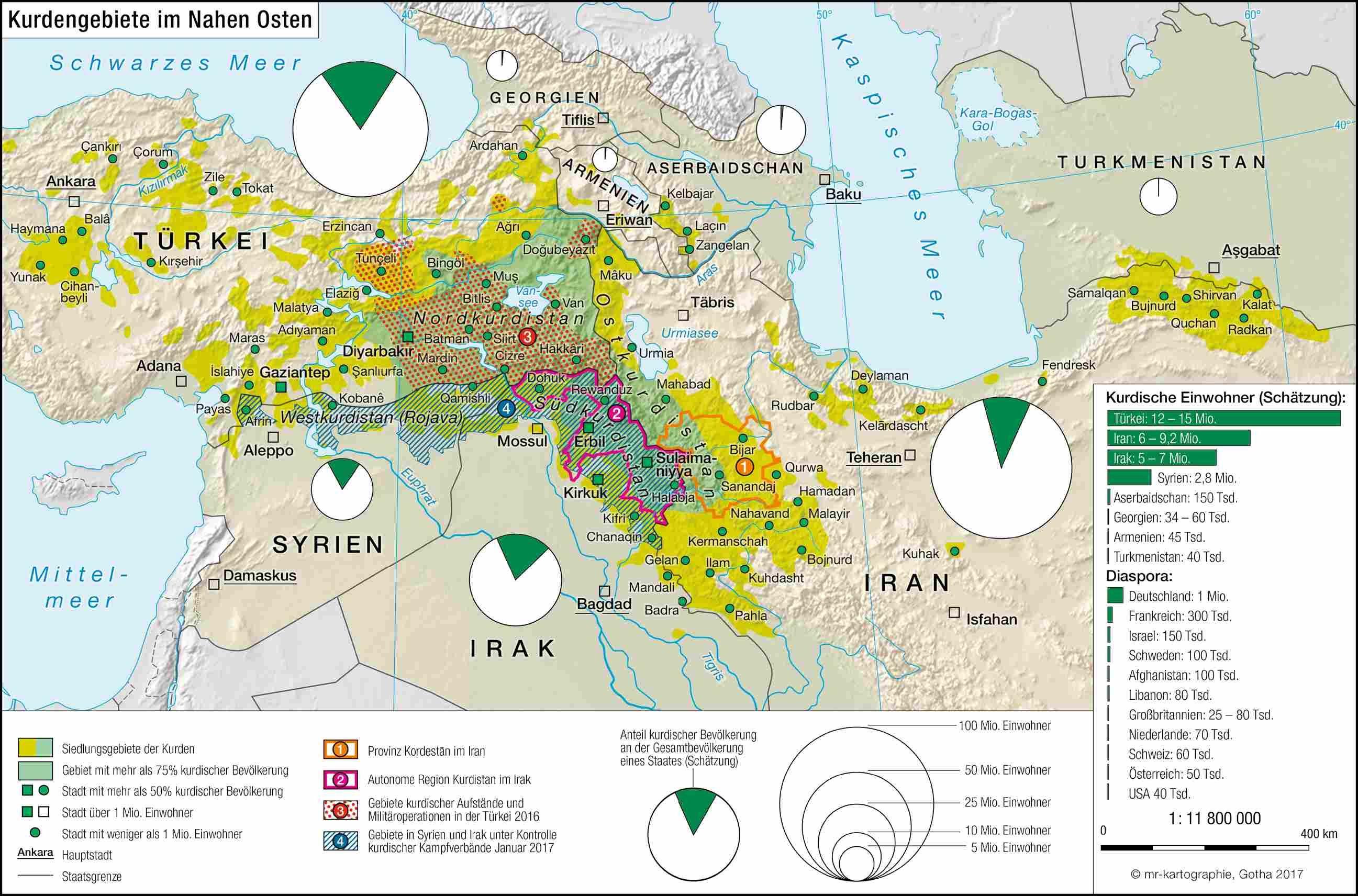 Kurdengebiete Im Nahen Osten C Mr Kartographie Gotha 2017