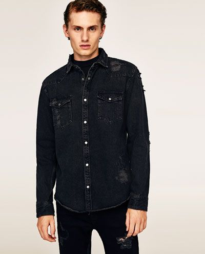 c0f100c0b1 RIPPED DENIM OVERSHIRT - Available in more colours