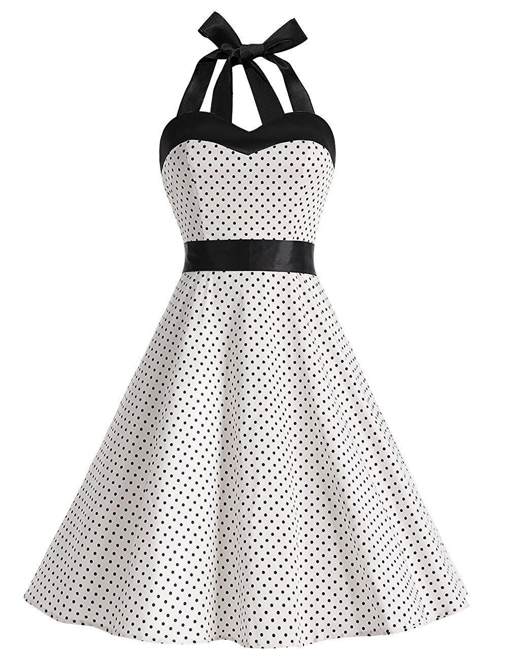50s vintage style halter white polka dots ruched retro dress style Party 1950 Style Clothing 50s vintage style halter white polka dots ruched retro dress