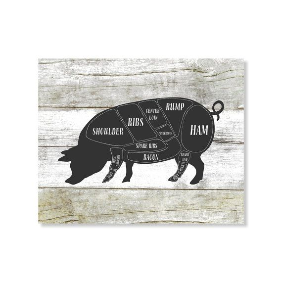 Pig Butcher Diagram Art Print Pig Butcher Shop Art by Picturality