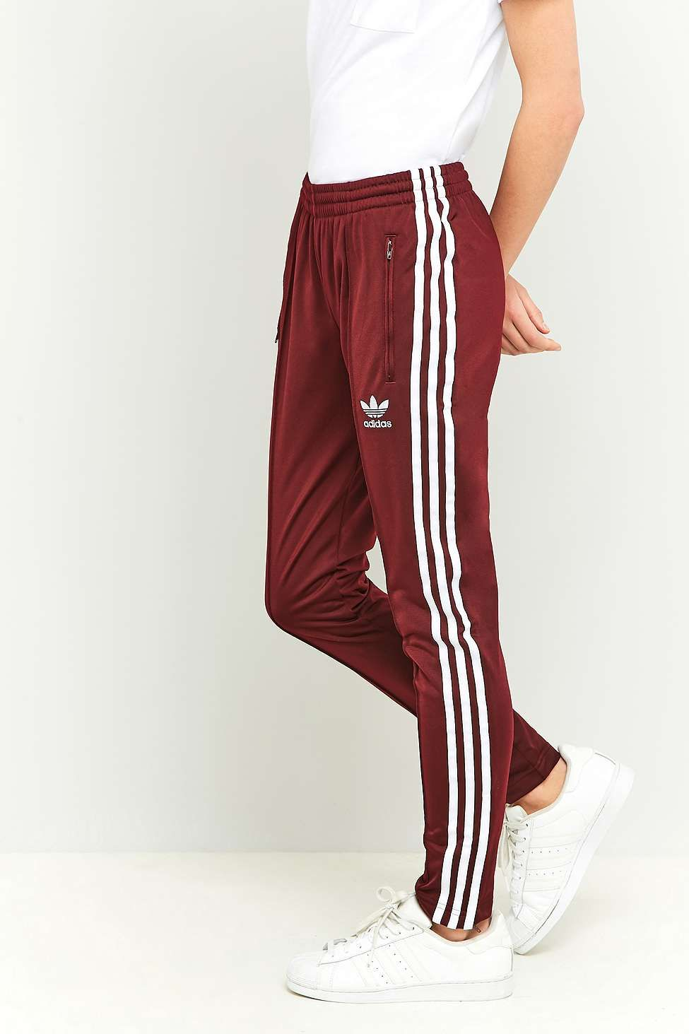 2f0c7d7318e adidas Originals 3 Stripe Slim-Fit Maroon Tracksuit Bottoms - Urban  Outfitters