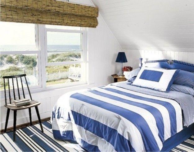 Camera da letto stile marina - Camera da letto blu e bianca | Scale ...