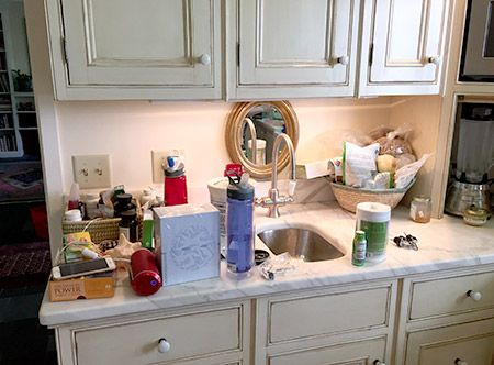 Before The KonMari Method, My Marble Kitchen Counter Is Covered In  Knickknacks, Vitamin Bottles