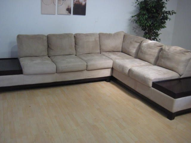 Microfiber Sectional With Attached End Tables Chaise Lounge And