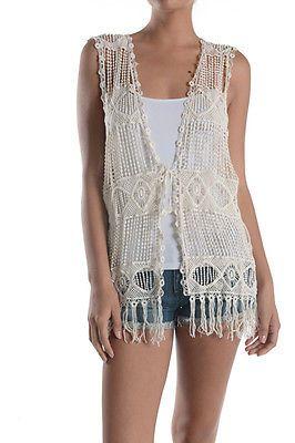 Women Summer Boho Sleeveless Front Open Lace Crochet Knit Fringe ...