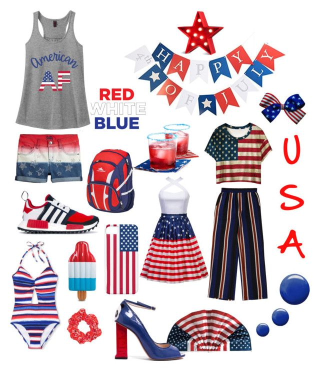 """USA"" by beluuacevedo on Polyvore featuring adidas Originals, WithChic, Grandin Road, Topshop, High Sierra and POPTIMISM!"