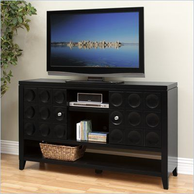 Kathy Ireland By Martin Crescent 36 Tall Tv Stand In Black Cr365b