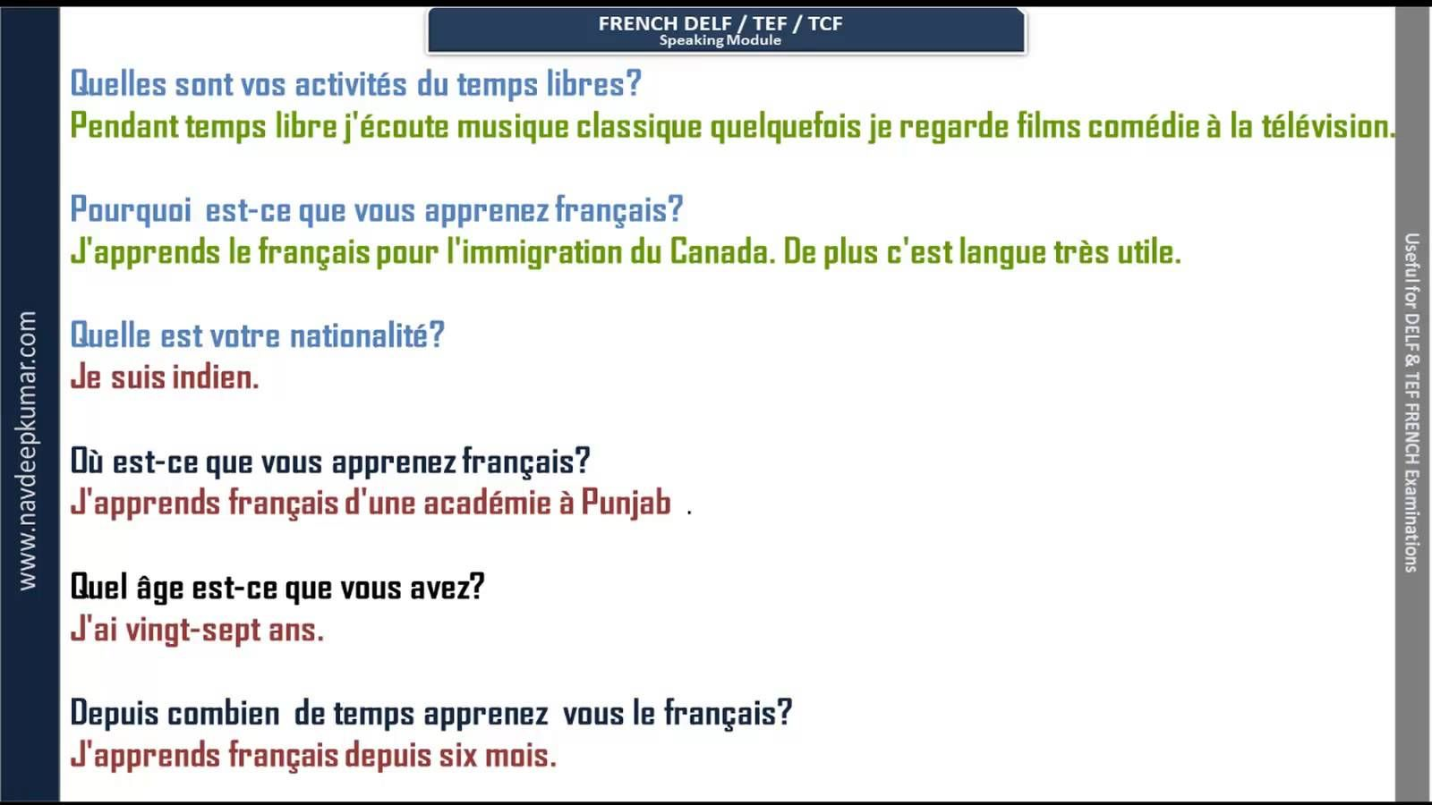 French Delf Speaking Questions With Audio With Images Learn