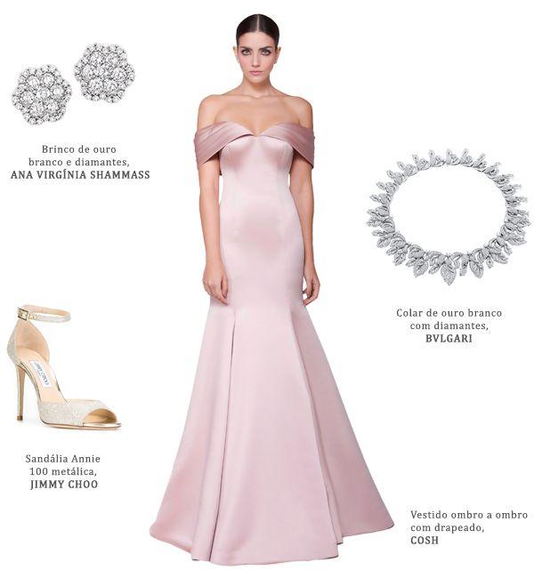 8da41cc33a6d4 Look madrinha: vestido rosa claro Cosh + brincos de diamantes Ana Virginia  Shammass + colar de diamantes Bulgari + sandália Jimmy Choo