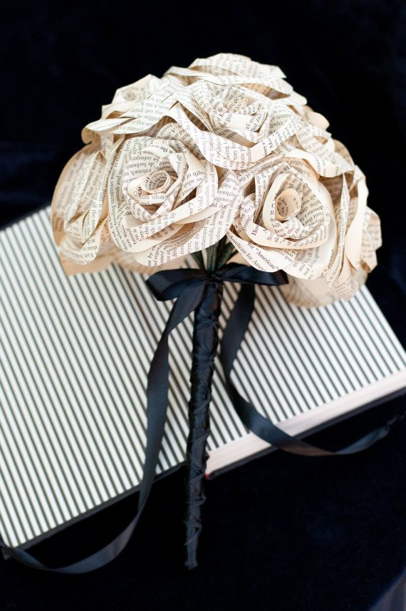Recycled Book Page Rose Wedding Bouquet