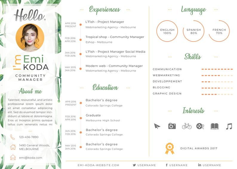 Tropical Curriculum Vitae Template Resume Cv Cover Letter Creative Design For Photoshop Curriculum Vitae Curriculum Vitae Template Business Letter Format
