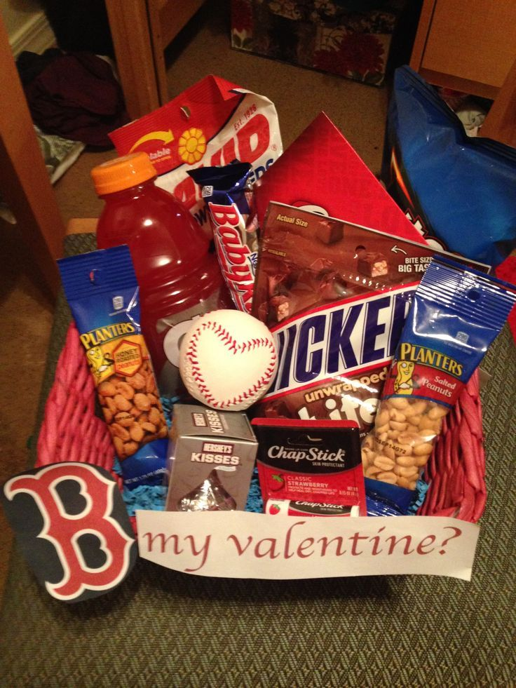 Valentine's gift basket for a boyfriend who loves the Boston Red Sox & Baseball! - #baseball #Basket #Boston #boyfriend #gift #loves #Red #Sox #Valentines #boyfriendgiftbasket