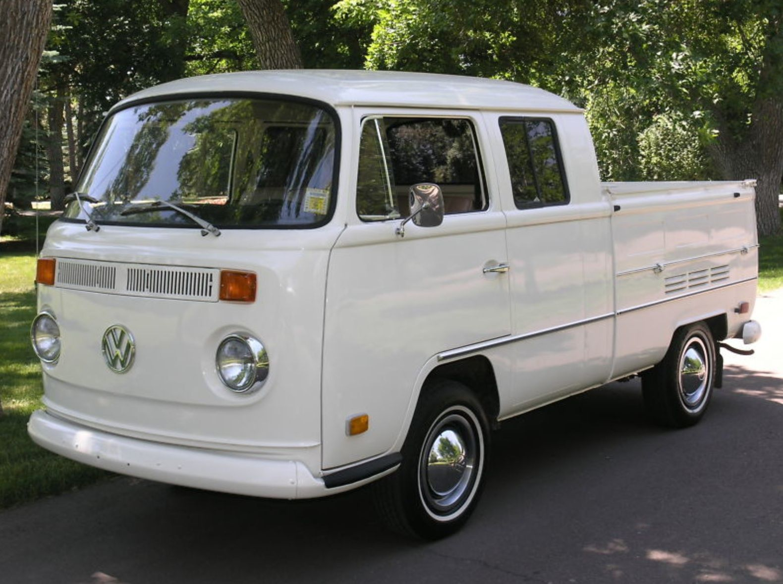 1970 vw double cab pickup white with tan only 44 original miles never restored never rusty runs and drives like new