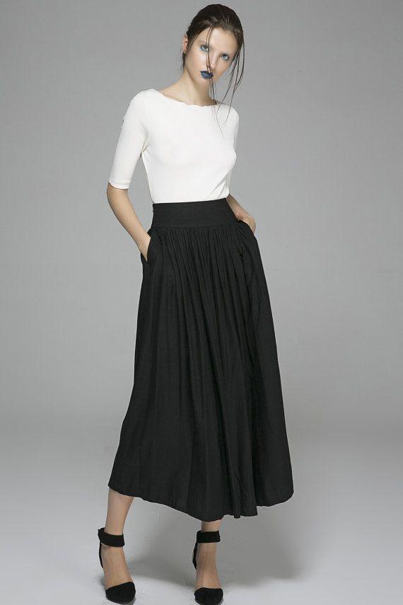 Black skirt, pleated skirt, long skirt, linen skirt, ruffle skirt ...