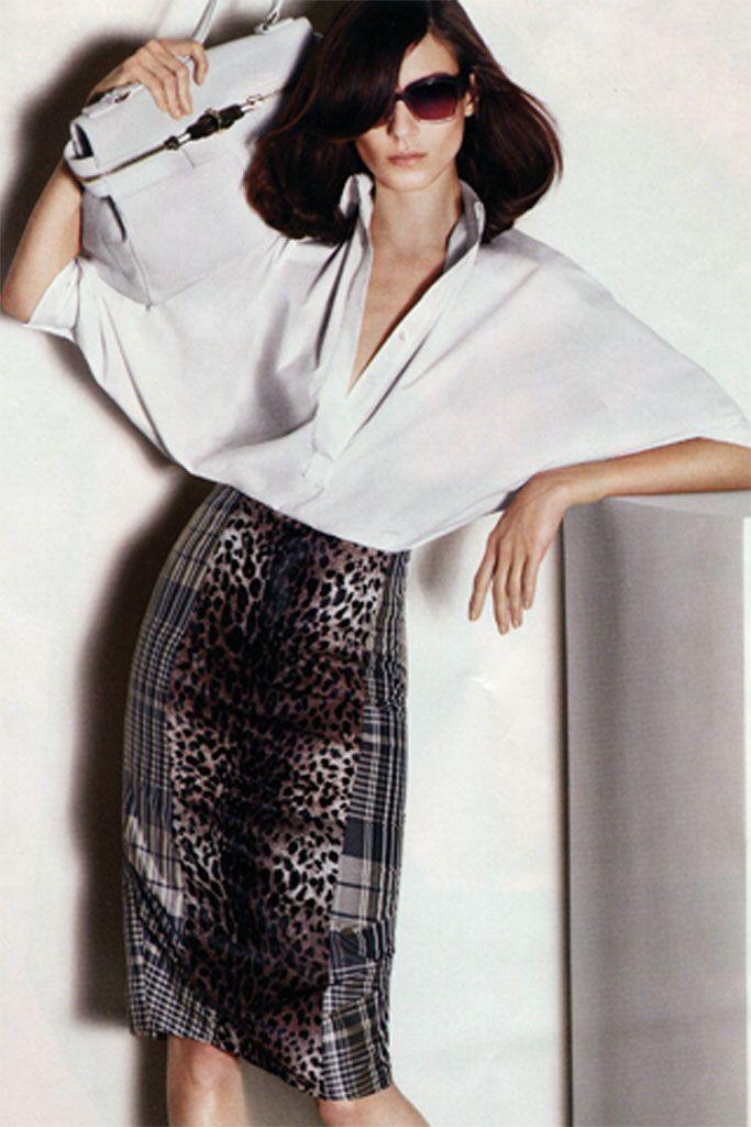 Юбка-карандаш с принтом | Белые рубашки, Юбка, Одежда
