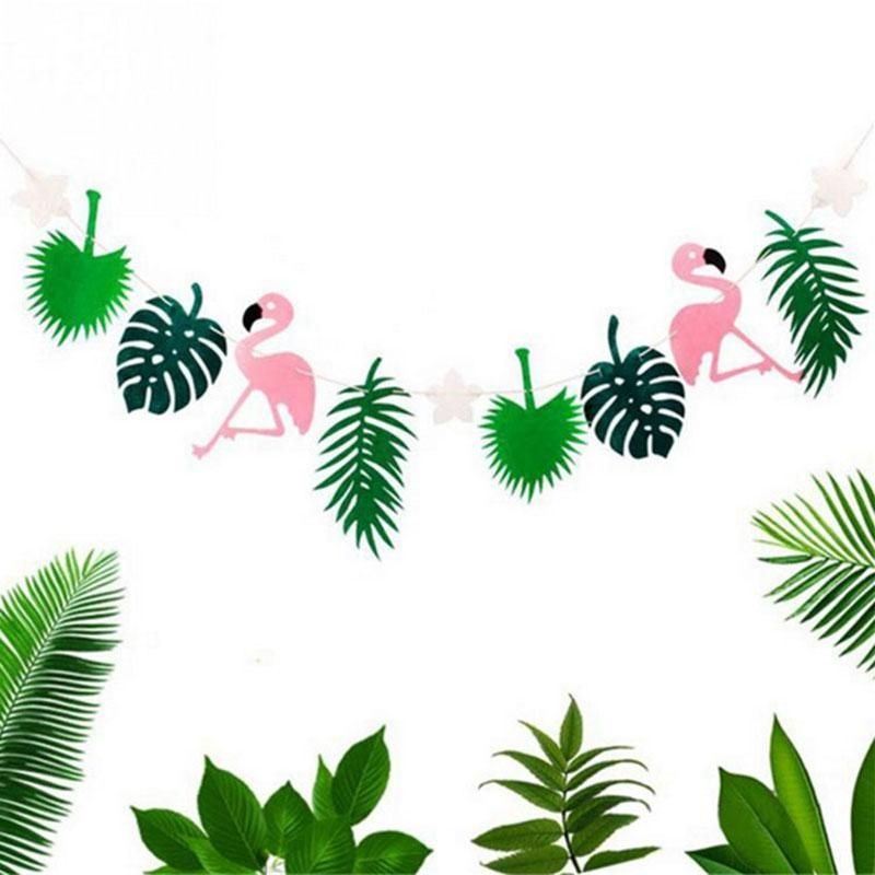 Hawaiian Tropical Flamingo Summer Banner Garland Bunting Party Decor Supply
