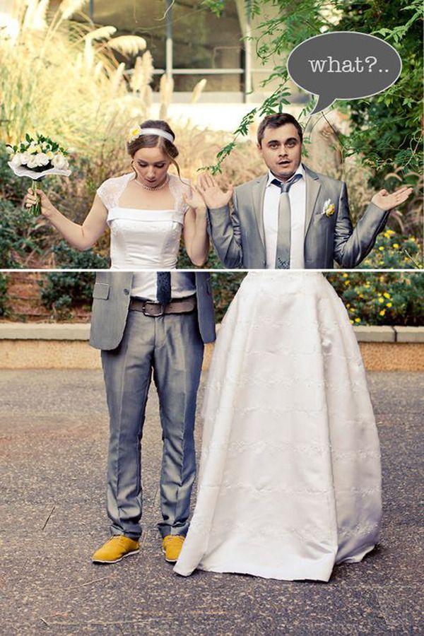 creative funny bride and groom wedding photos