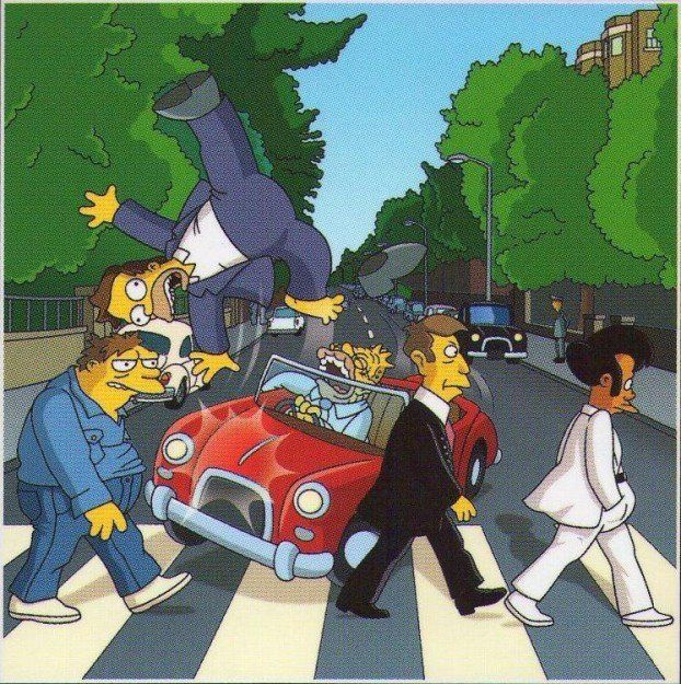 Grandpa simpson nails homer abbey road crossing and - The simpsons abbey road wallpaper ...
