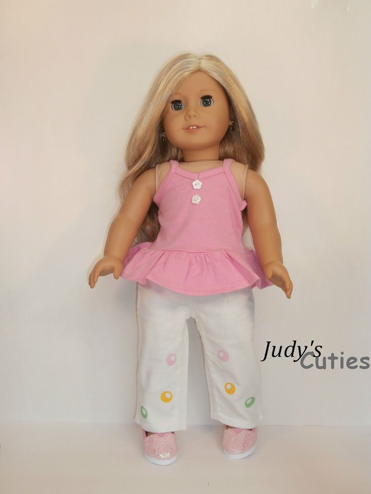 Pink Top-Cream Pants w/Colorful Dots -Shoes  Doll Clothes fit American Girl Only