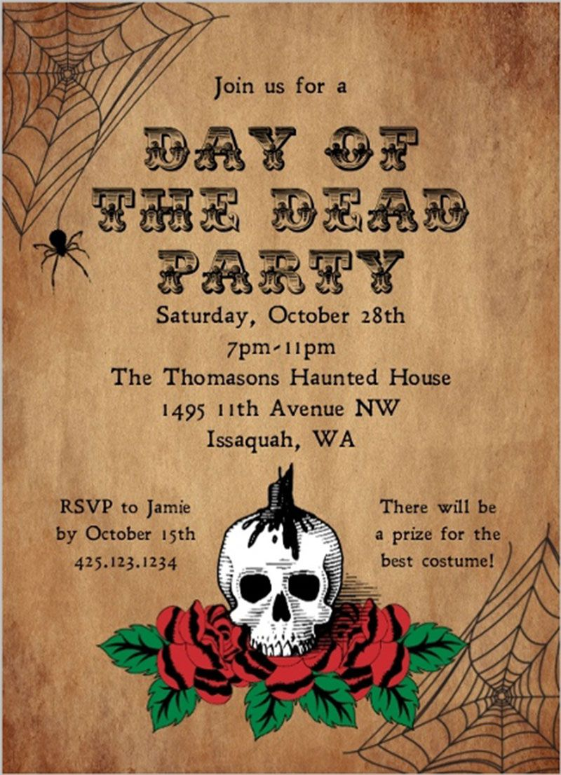 Vintage Day Of The Dead Halloween Party Invitation With Skull Rose Spi Halloween Party Invitations Halloween Party Invitation Template Holiday Event Invitation