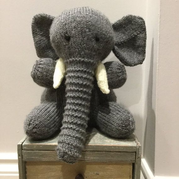 Elly the Elephant Dark Grey Hand Knitted by Incywincybabyknits