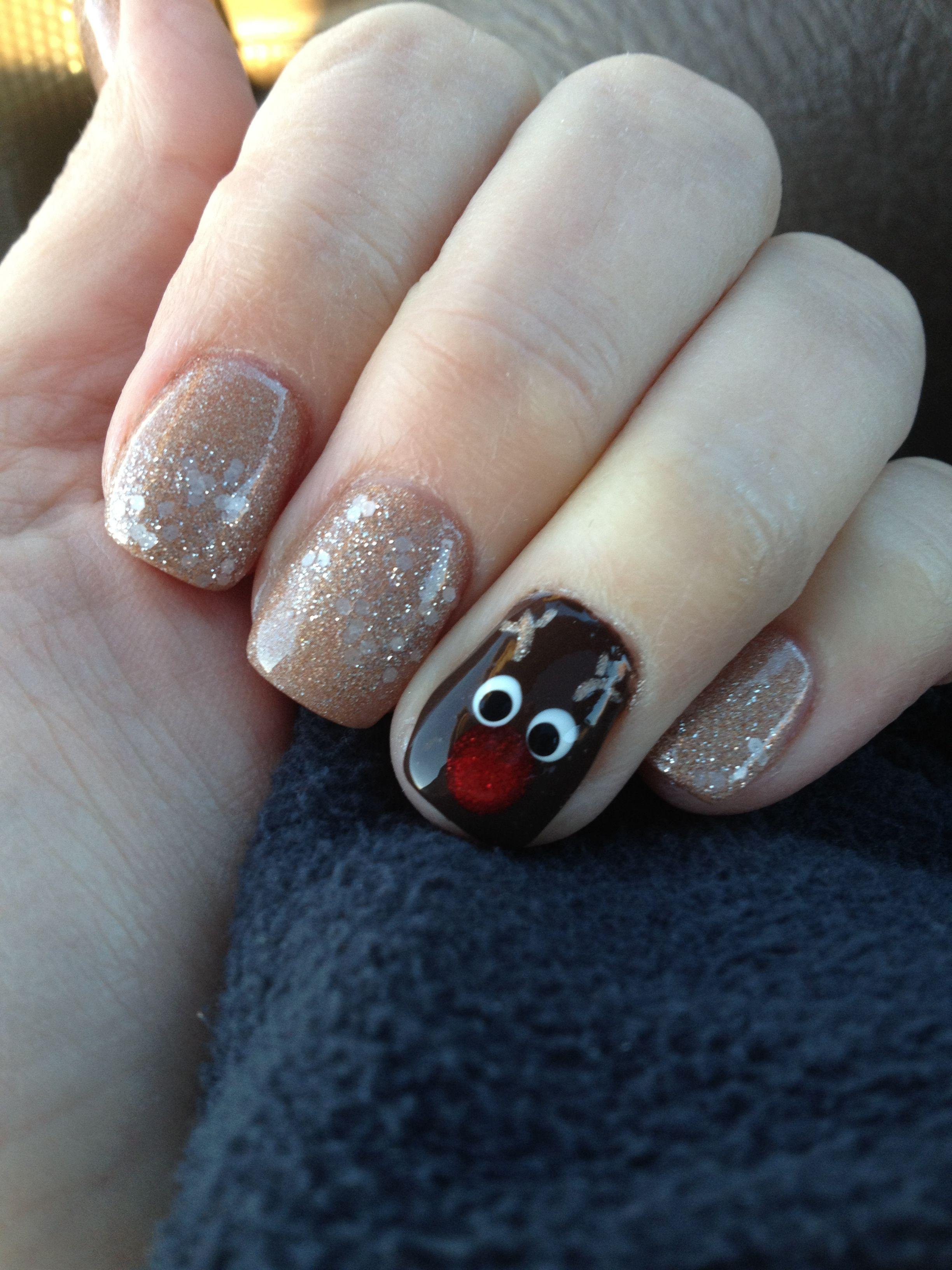 Christmas nail design rudolph nail design pinterest nail