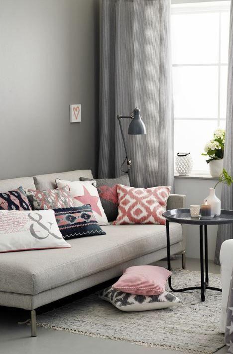 Grau, Schwarz und Rosa im Wohnzimmer u2026 Pinteresu2026 - vorh nge ideen wohnzimmer