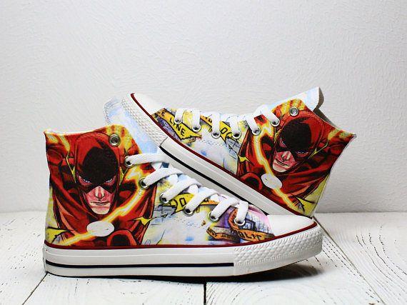 36edecef3f90 Running Flash custom converse sneakers superhero inspired hi Custom Converse