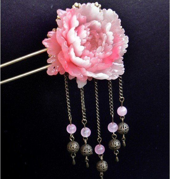 Hair Accessories Pink Copper Resin Clips