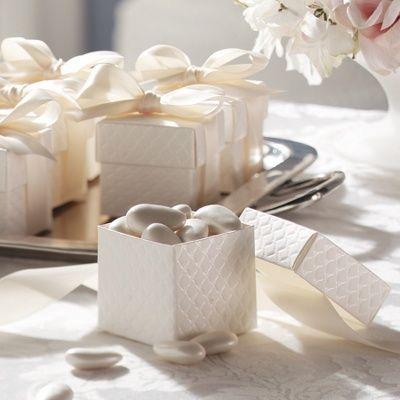 Quilted Off White Wedding Favor Boxes