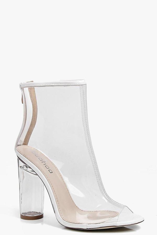 18f42ba6626 boohoo Lena Peeptoe Clear Heel Shoe Boot