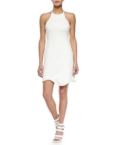 B2VZE 3.1 Phillip Lim Satin-Piped Scalloped Sheath Dress, White