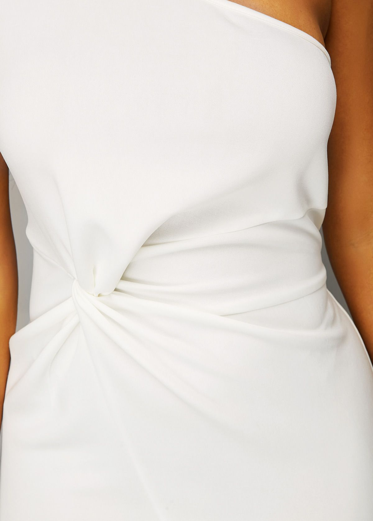 a13bdbb163 One Shoulder Twist Detail Ruffle Hem White Dress | Rosewe.com - USD $35.01
