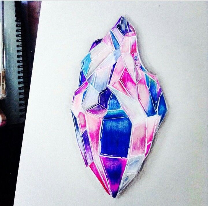 Crystal that I made Hope you guys like it ❤ #art #crystal #drawing