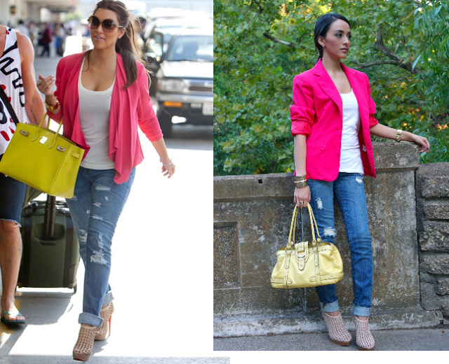 28d465d3a26 pink blazer outfit ideas | Kim Kardashian Inspired outfit pink ...