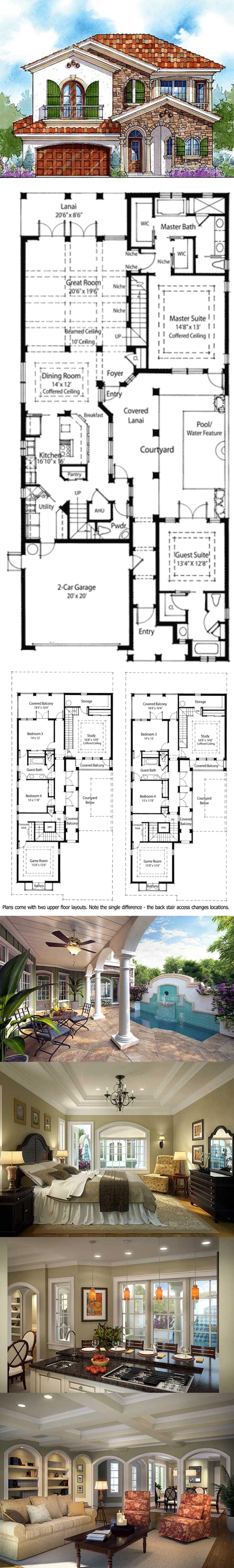 Plan 33047zr Energy Saving Courtyard House Plan House Plans Courtyard House Architecture Plan