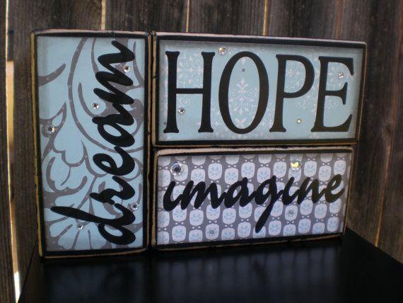 Wooden Home Decor Blocks DREAM HOPE IMAGINE By