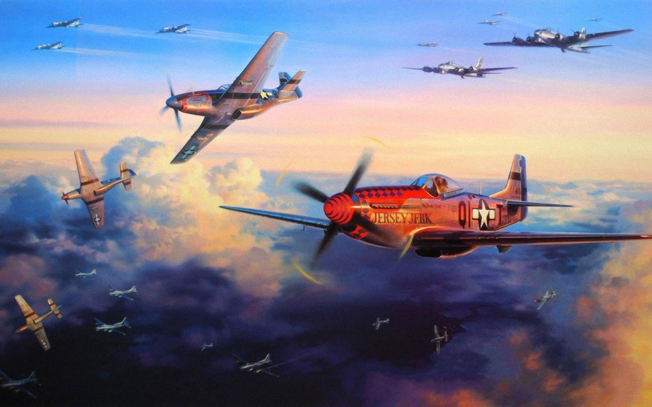 Обои ww2, dogfight, war, spitfire, painting. Авиация foto 16