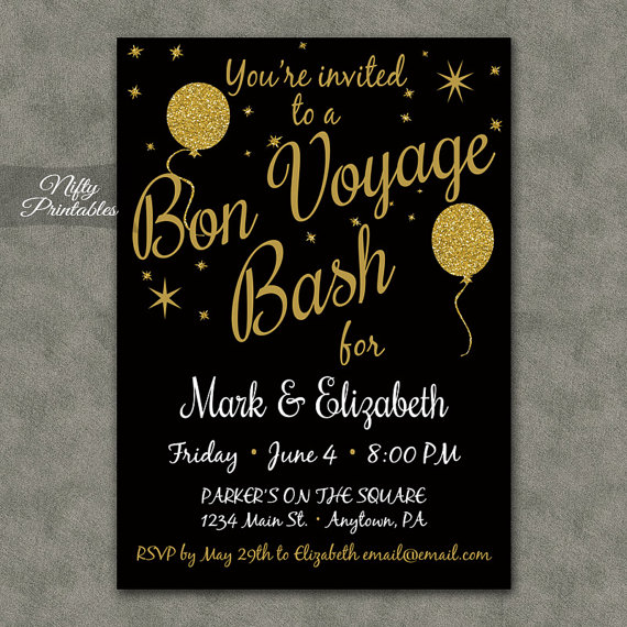 Bon Voyage Invitations - Printable Black \ Gold Bon Voyage Invites - farewell party invitation template