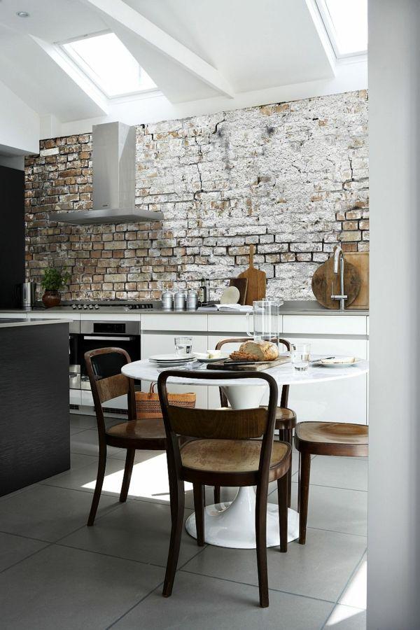 Fesselnd Tapete Malerei Küche Runder Weißer Tisch