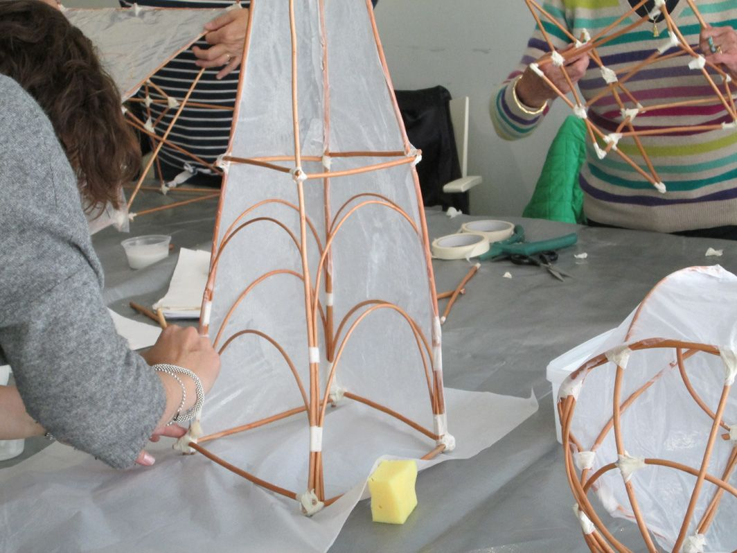 Students making willow lanterns willow lantern for How to make paper mache lamps