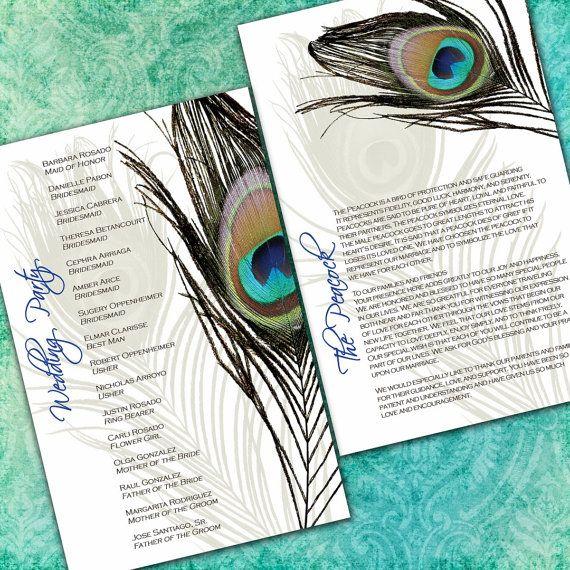 Peacock Wedding Ideas Etsy: Peacock Wedding Ceremony Programs By InvitingMoments On