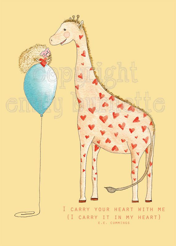 8x10 Print I Carry Your Heart Giraffe and Hedgehog by recipe4cute ...