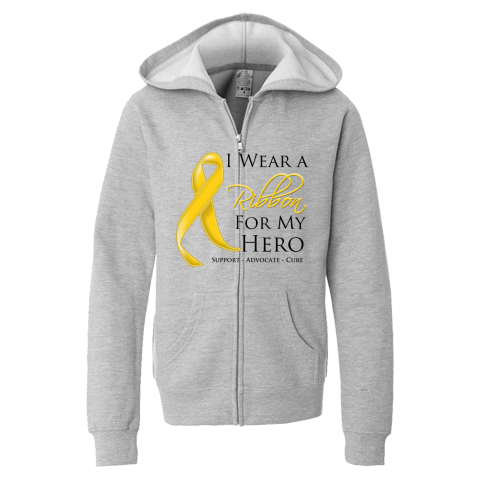 adfea066ec5 Childhood Cancer I Wear a Ribbon For My Hero support shirts, apparel ...