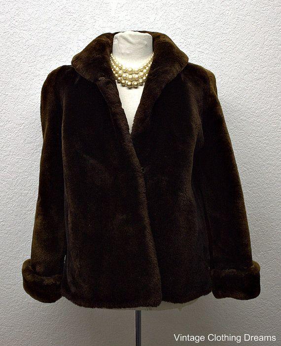 d6cfed8212d 40s Coat Faux Fur Lamb Coat Sheared Mouton Lamb Fur Coat Vintage Dark Brown  Cerbotai Dessin Jacket with Eiffel Tower BR-100