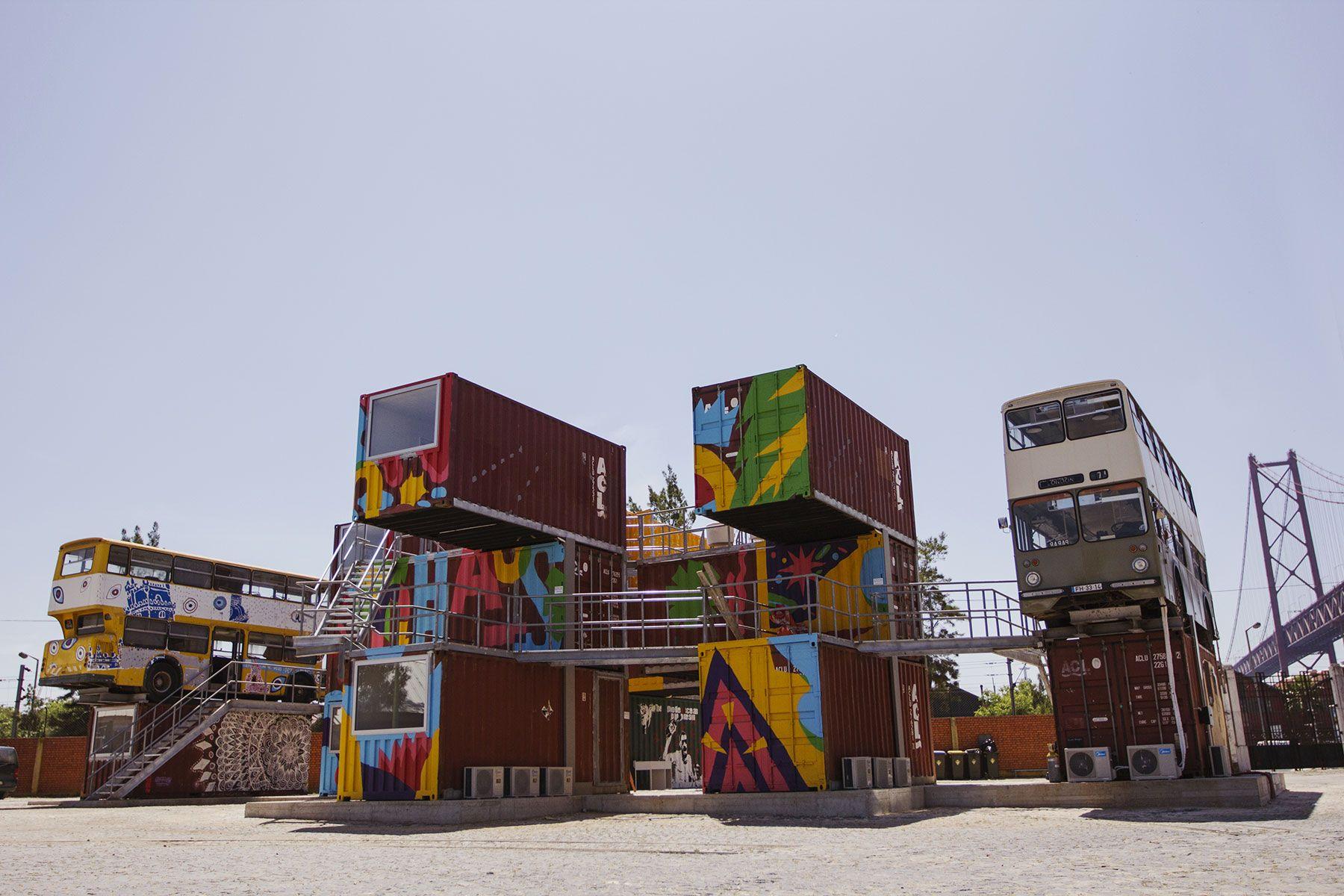 Village Underground, cowork space, Lisboa, by  João Cassiano Santos, Joana Astolfi #architecture #workspace #design #reuse #recycling #democraticdesign #container #lisboa #portugal