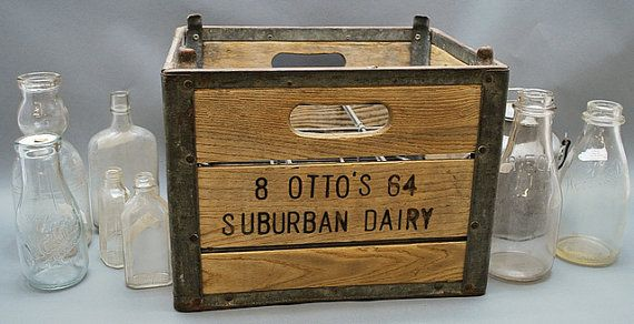 1964 Vintage Otto S Suburban Dairy Box Wooden Milk Crate Antique Rustic Primitive Decoration Kitchen Fa Wooden Crate Boxes Wood Crates Wooden Crates