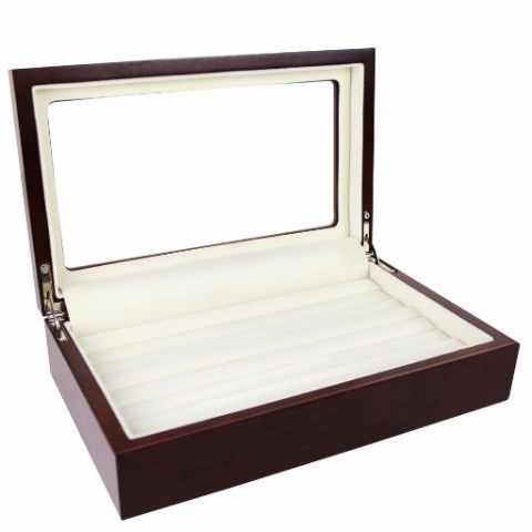 Ikee Design®Wooden Ring Inserts Organizer & Jewelry Accessory Display View Top Box