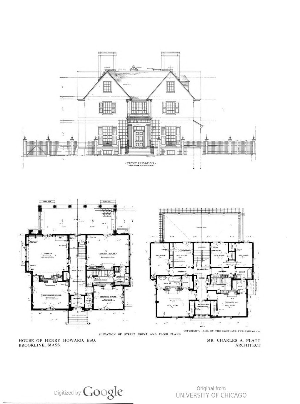 Detached Dwellings Part I Ii C 1 V 1 Vintage House Plans Architectural Prints House Plans